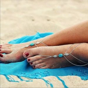 Jewelry - Boho Gypsy Toe Ring & Connected Anklet Turquoise